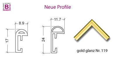 Neue Rahmen-Profile in Gold Hochglanz