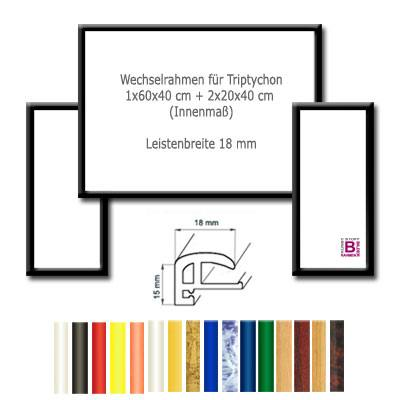 Bilderrahmen triptychon 2x 20x40 1x 60x40 elegance for Action bilderrahmen