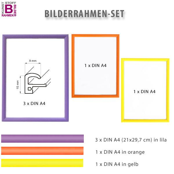 bunte bilderrahmen im 5er set lila orange gelb. Black Bedroom Furniture Sets. Home Design Ideas