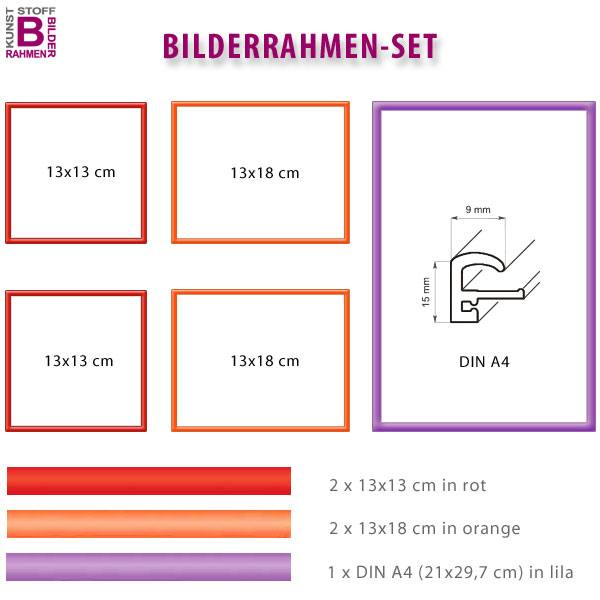 Bunte Rahmen Im 5er Set: Rot, Orange, Lila