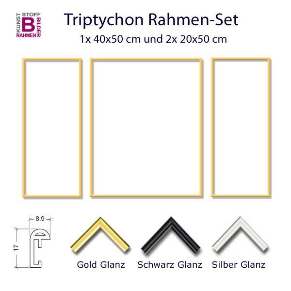 Triptychon Rahmen Set 2x 20x50 1x 40x50 Cm In Gold Silber Und